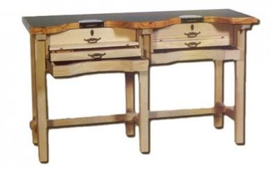 Mesa de trabajo desmontable en madera de haya para joyeros | REF: 92 | Dos puestos de trabajo
