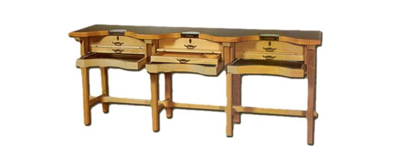 Mesa de trabajo desmontable en madera de haya para joyeros | REF: 93 | Tres puestos de trabajo